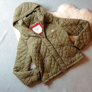 Abercrombie and Fitch Army Green Puffer Coat